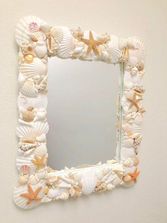 seashell framed mirror