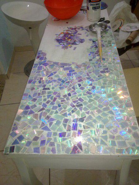 CD mosaic tabletop