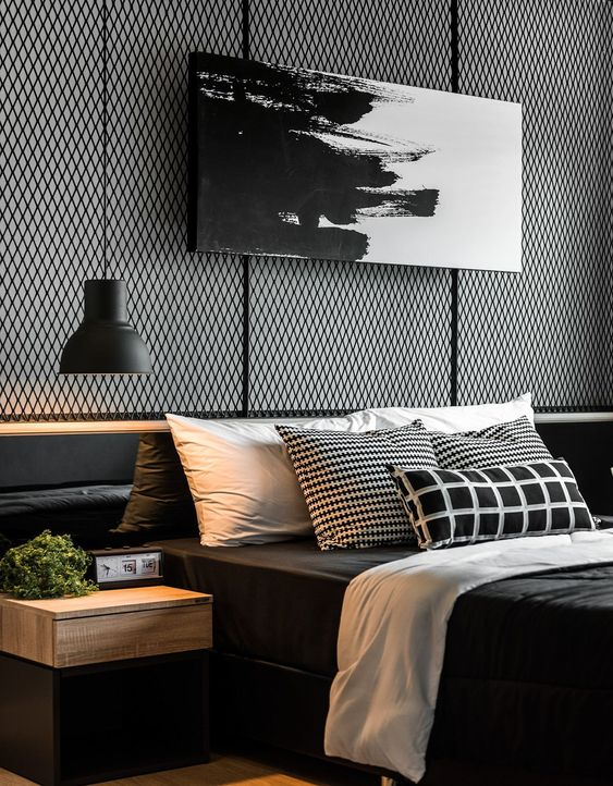 industrial black and white bedroom