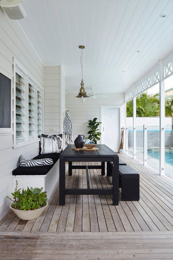 modern deck by the pool