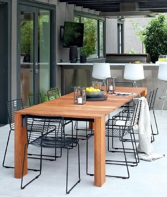 modern rustic outdoor dining