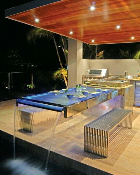 glass water cascading table