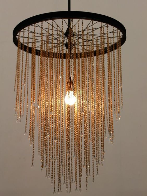 recycled bicycle wheel chandelier