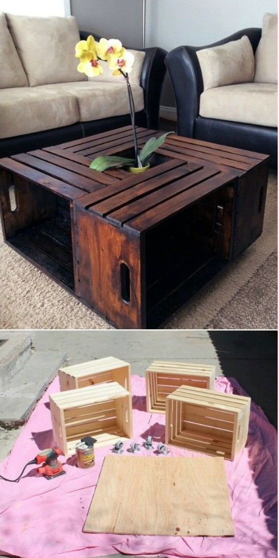 recycled crate coffeetable