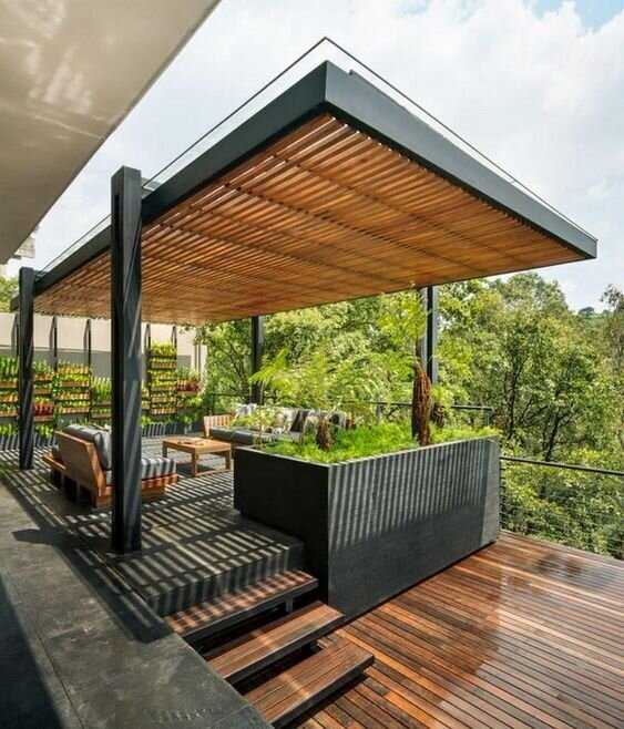 modern wood and concrete deck