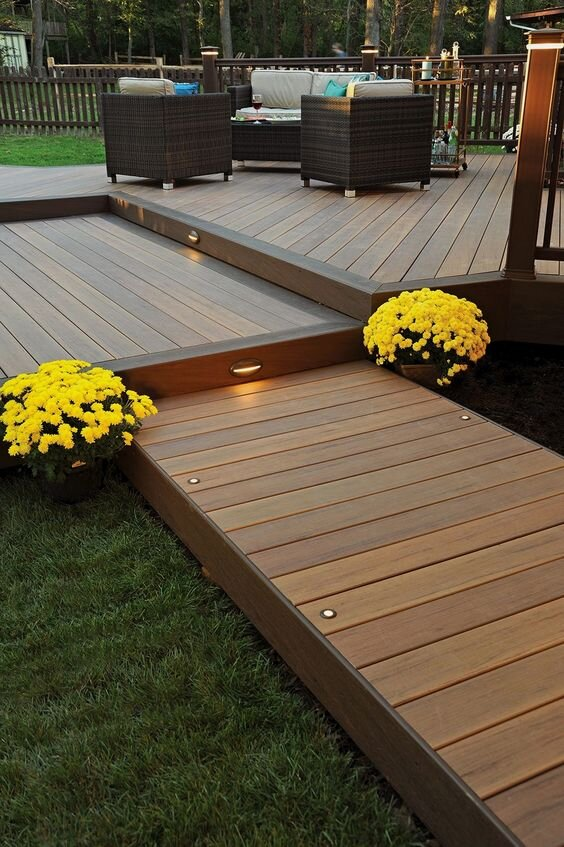 deck with outdoor lights