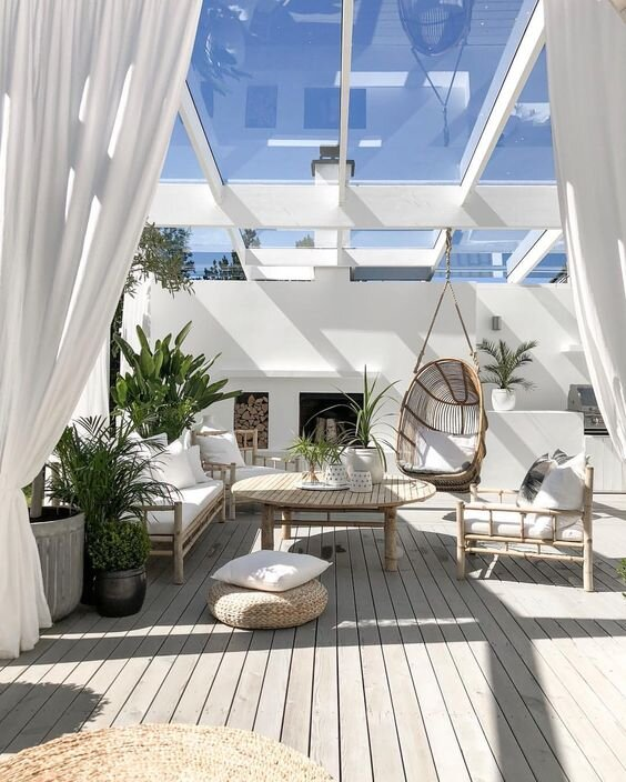 white deck with glass roof