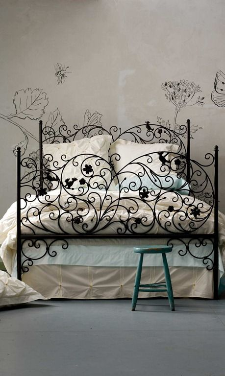 black iron bedframe