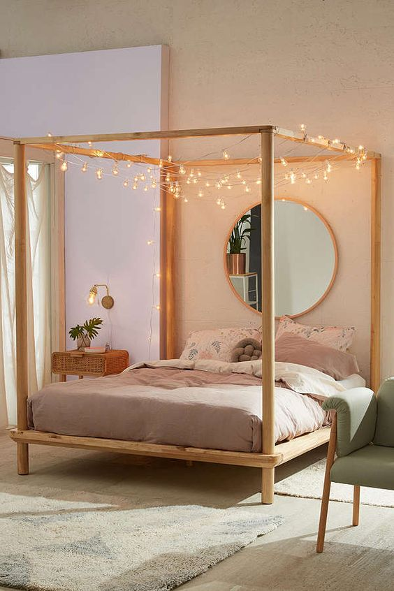 modern four-posted bed