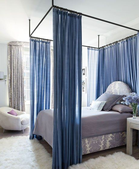 bed with canopy curtains