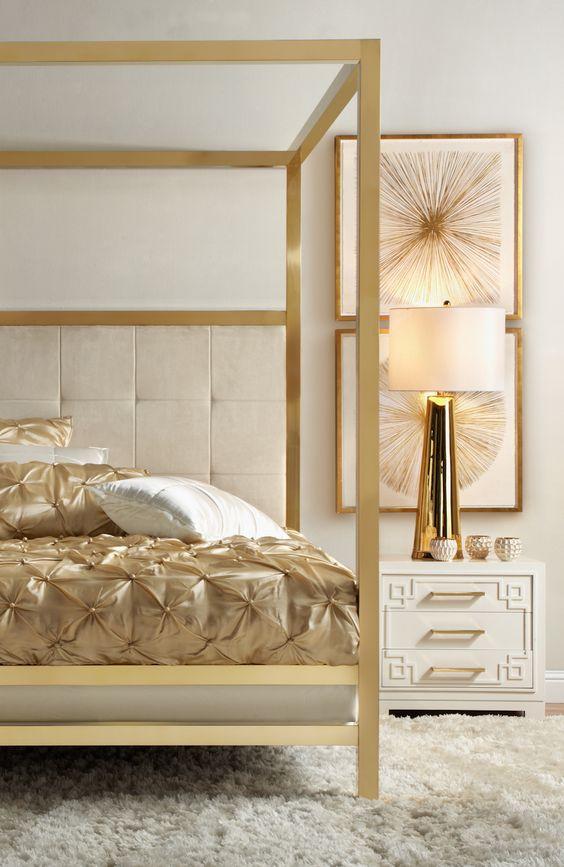 luxurious golden bedroom