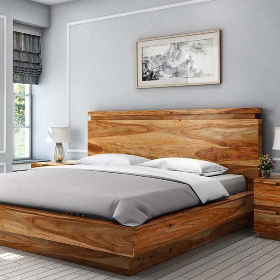 polished wood bedframe