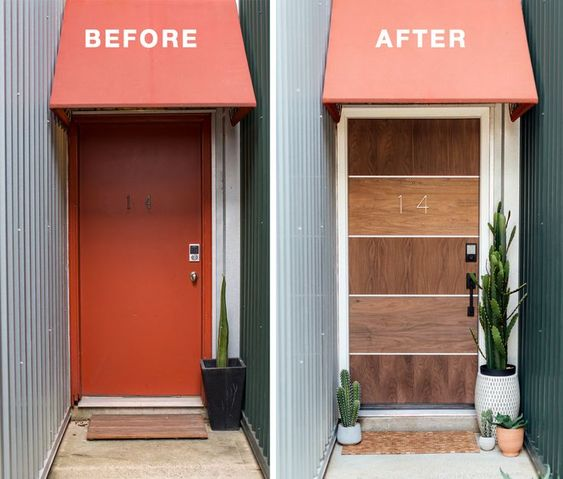 front door makeover before after