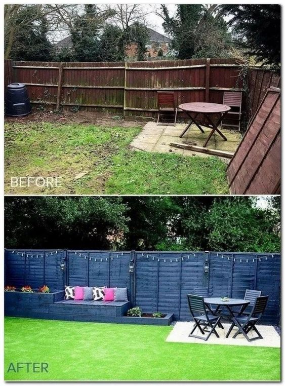 backyard makeover before after