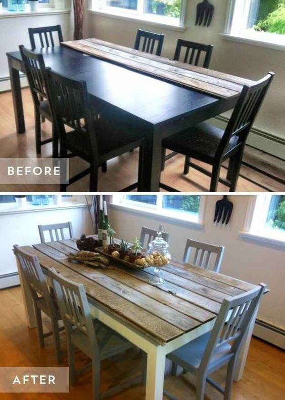 dining table makeover before after