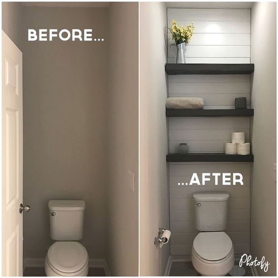 powder room makeover before after