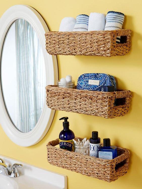 50 Nifty Bathroom Storage Ideas And, Bathroom Wall Baskets