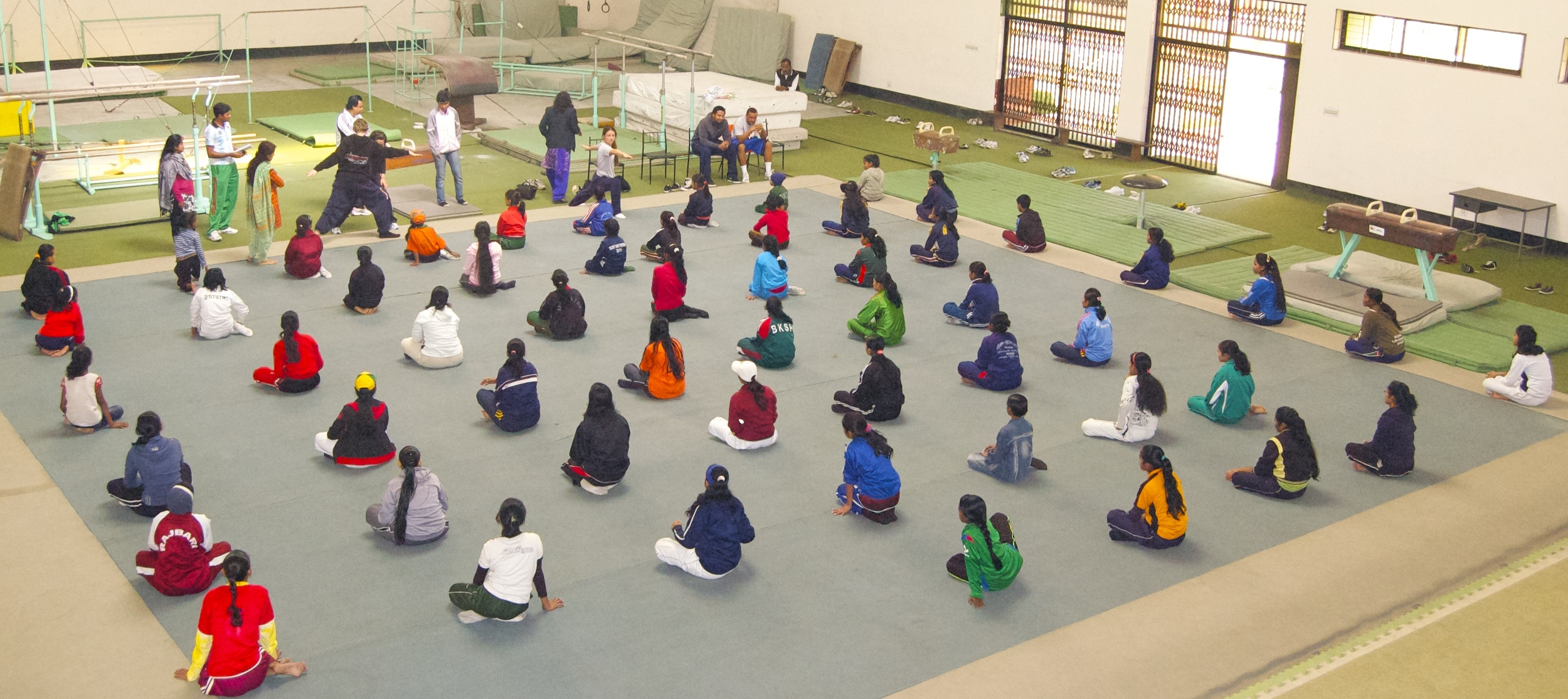Yoga with girls at BKSP
