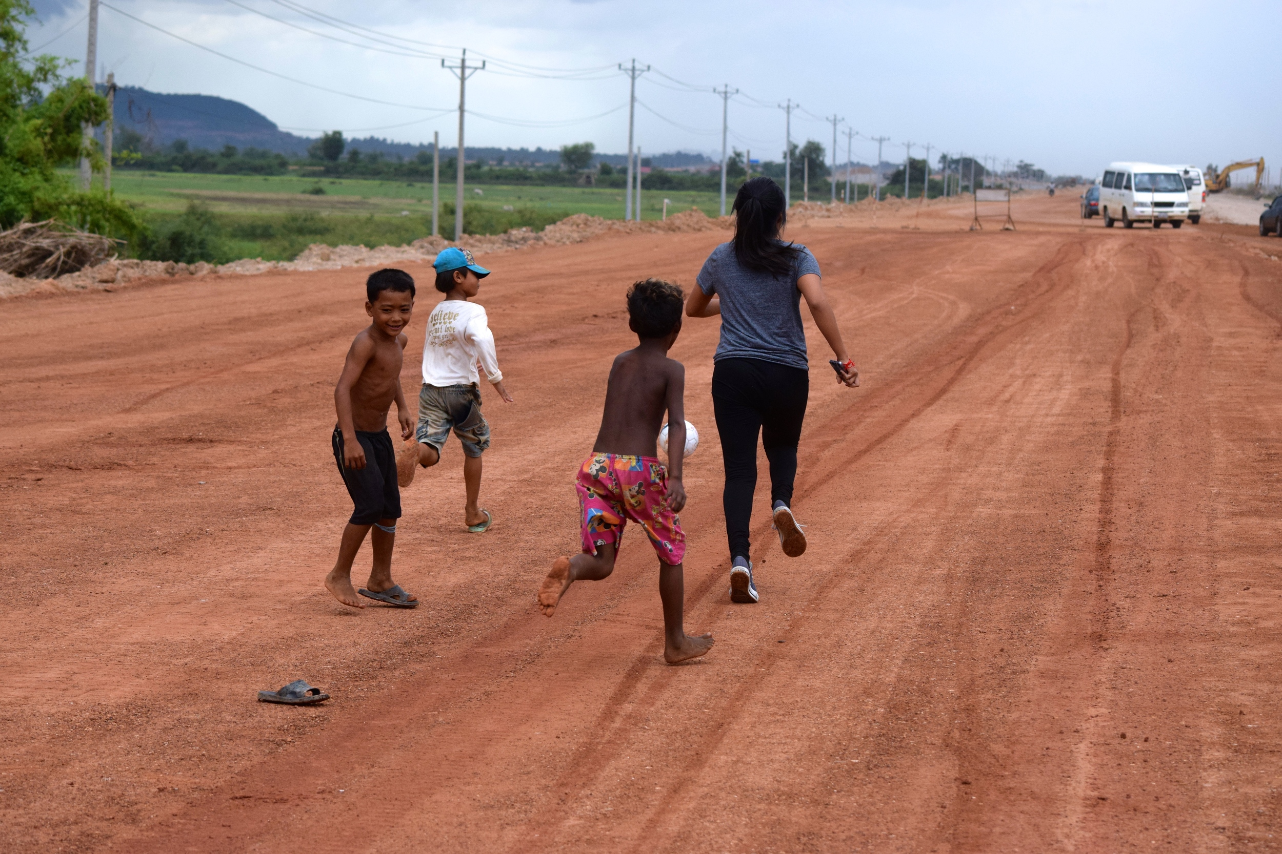 Playing soccer with the children on our way to Phnom Penh