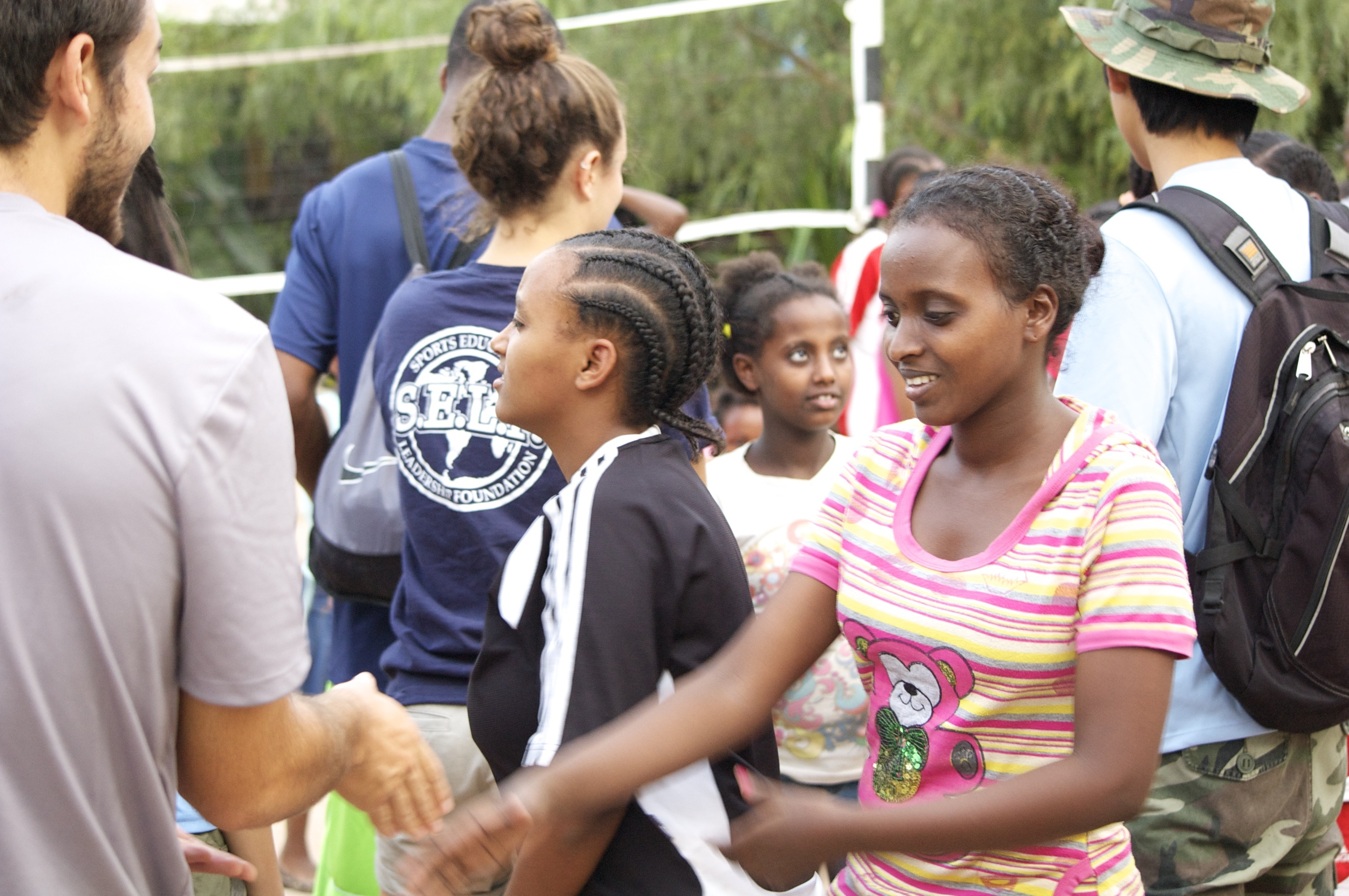 Greeting the girls at the orphanage