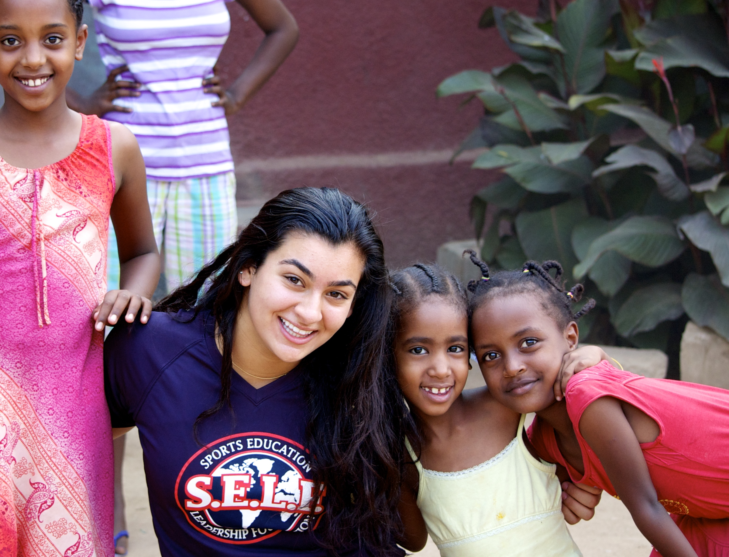 Hanna G. and girls at the orphanage