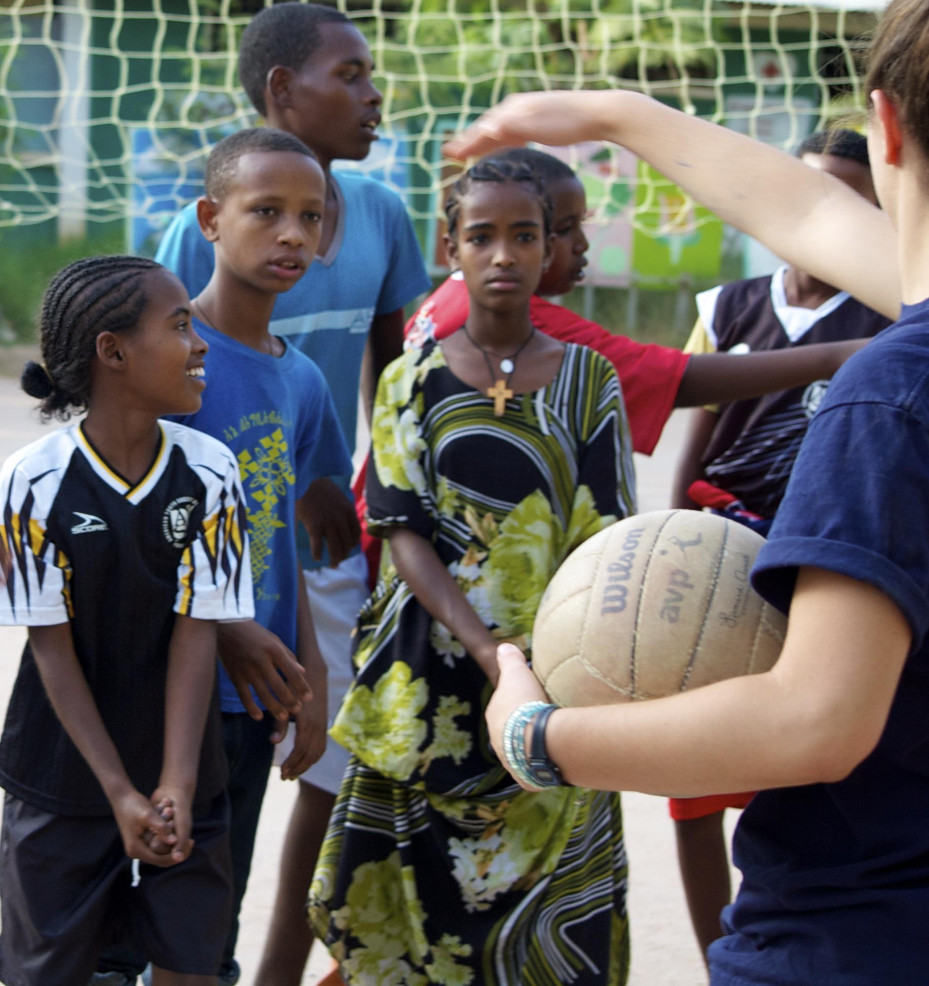 Hannah teaching volleyball