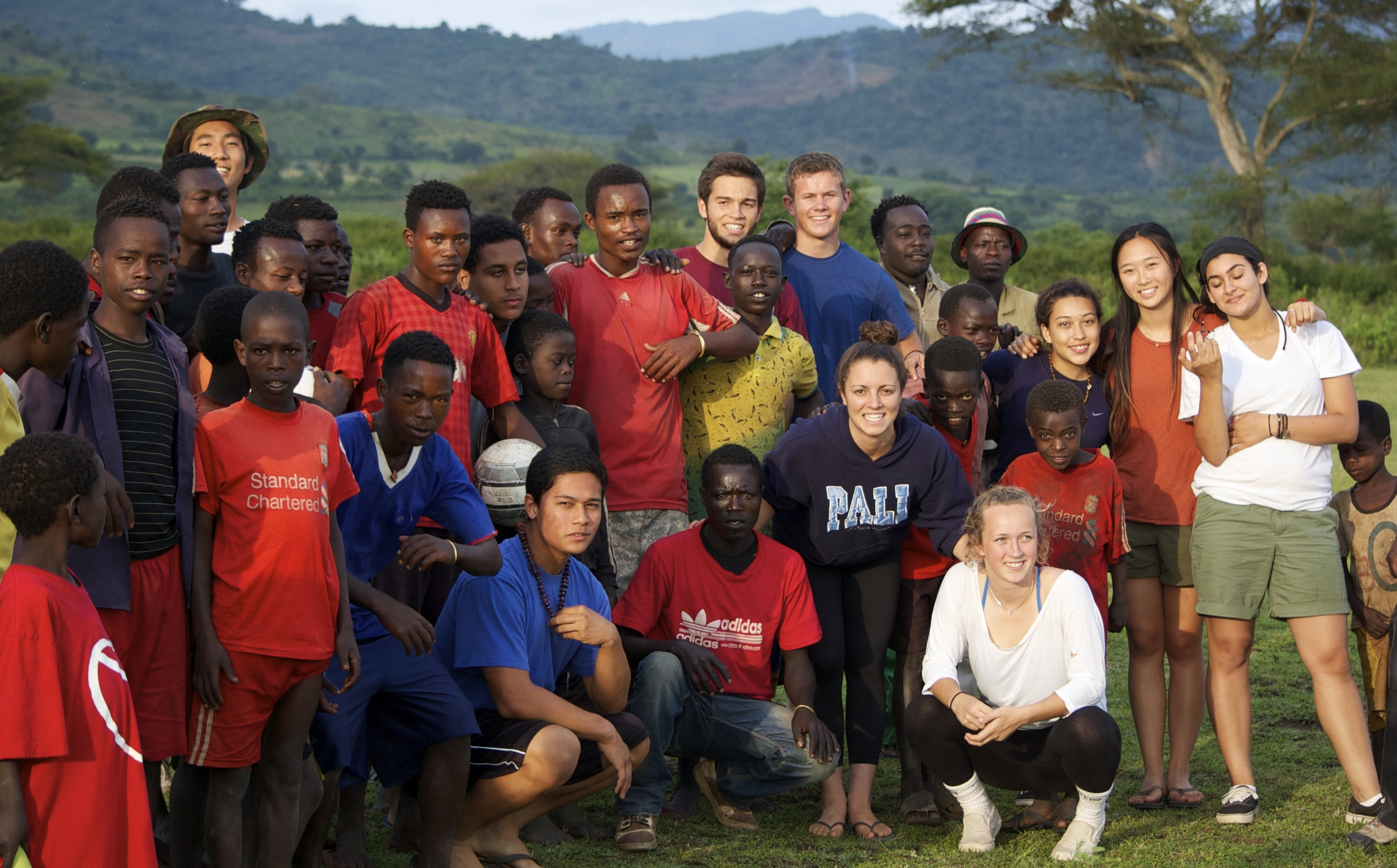 Group photo with the locals we played soccer and volleyball with