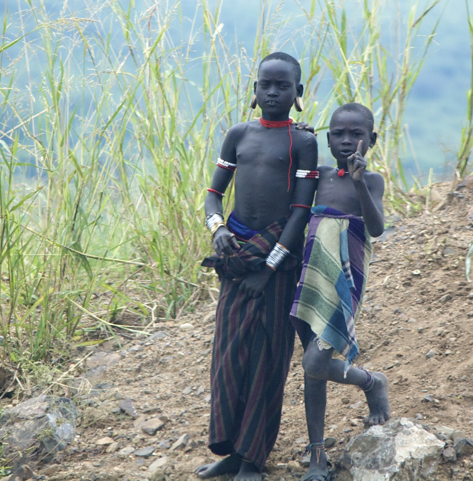 Boys from the Mursi tribe