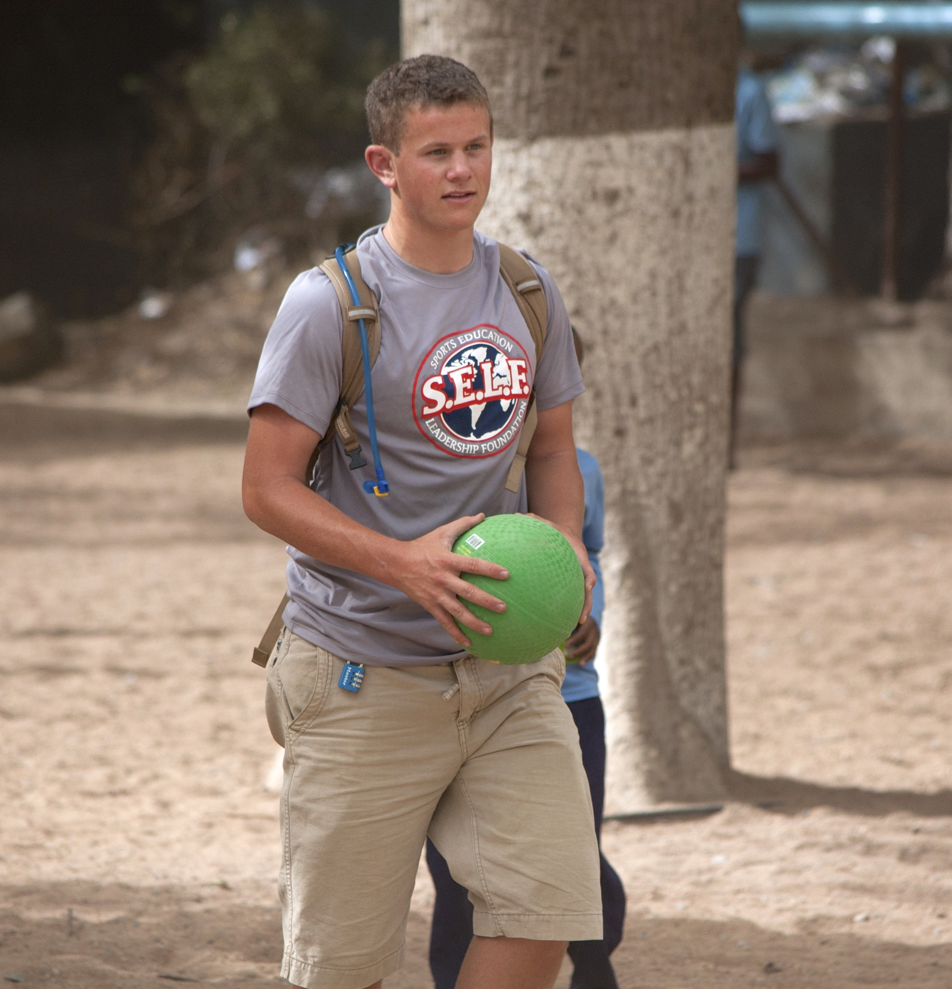 Matt teaching kickball