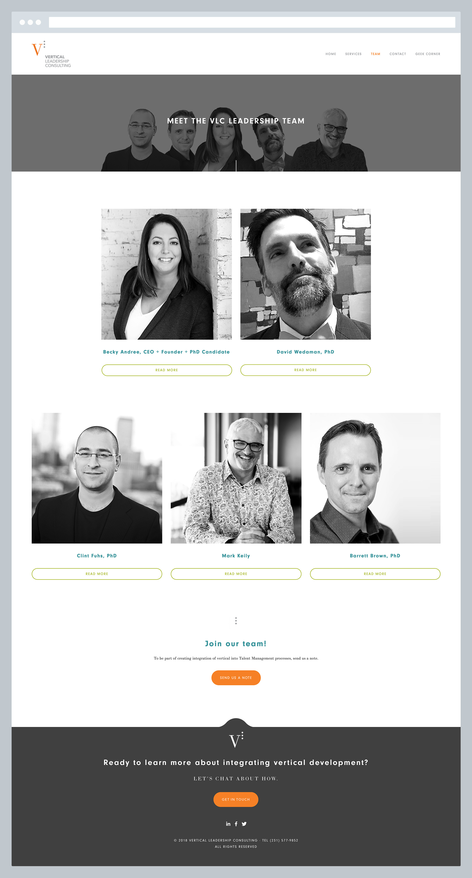 Vertical Leadership Consulting - Team Page, by Janessa Rae Design Creative in collaboration with Sweaty Wisdom