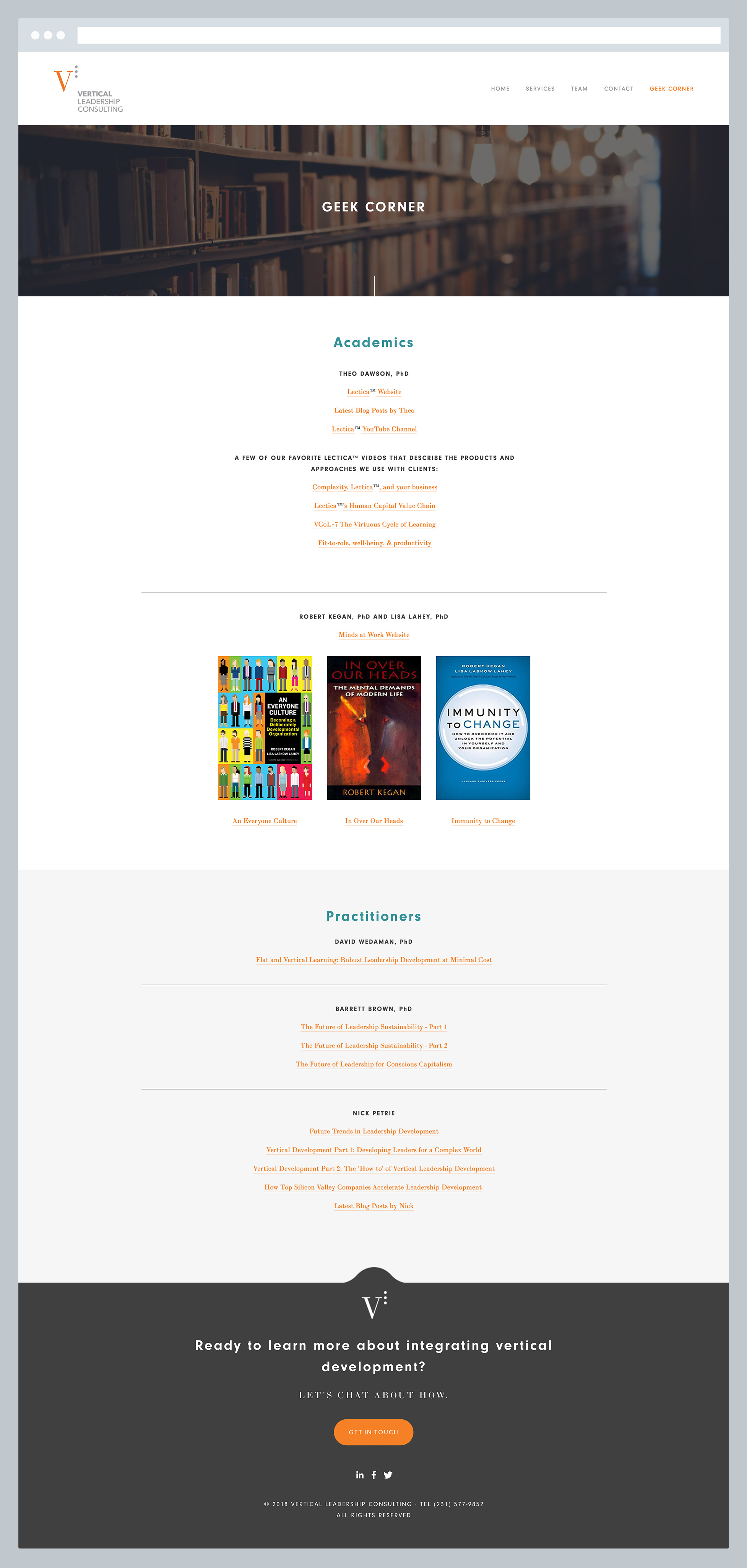 Vertical Leadership Consulting - Geek Corner Page, by Janessa Rae Design Creative in collaboration with Sweaty Wisdom