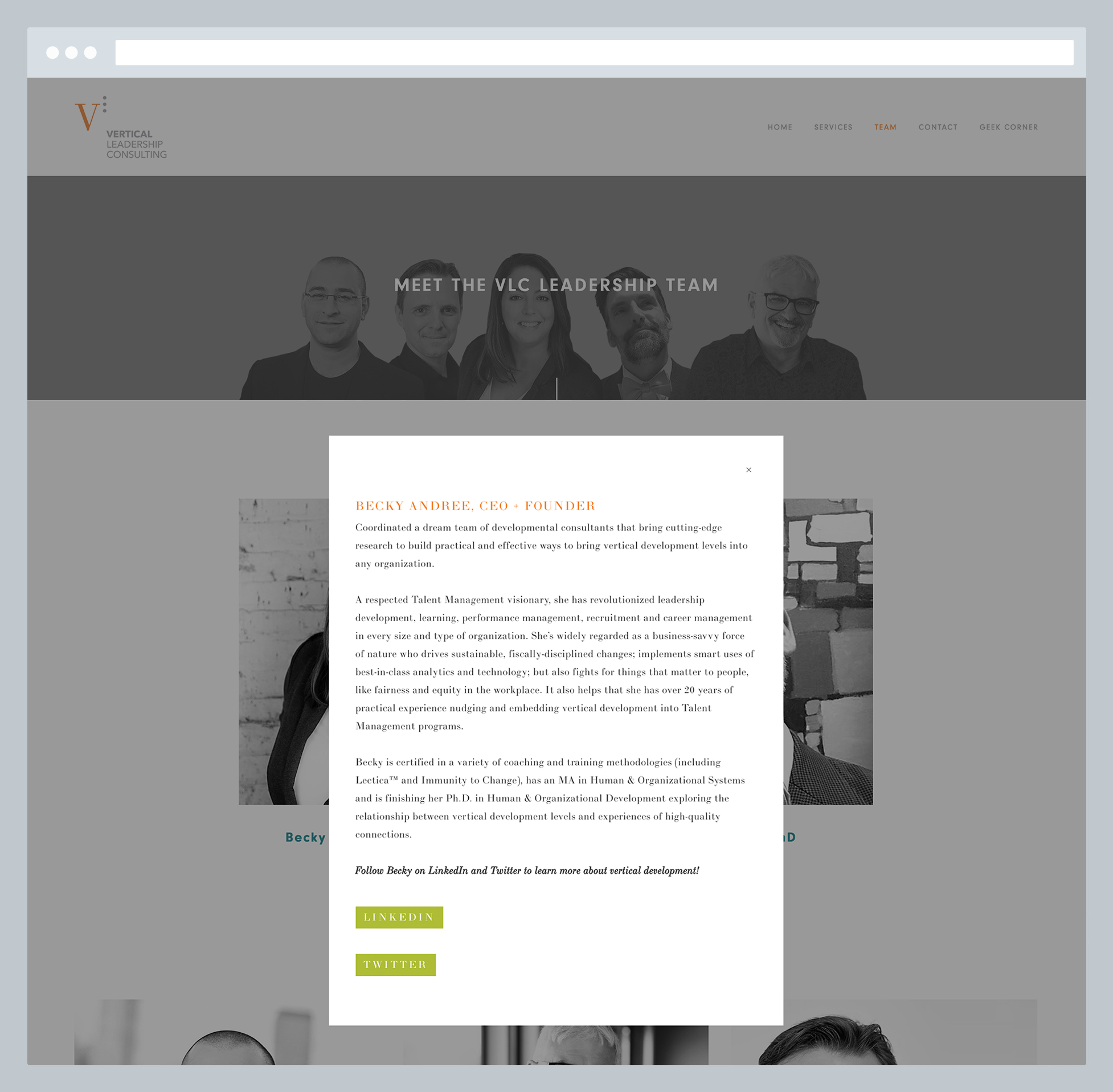 Vertical Leadership Consulting - Pop Up Text Box on About Page, by Janessa Rae Design Creative in collaboration with Sweaty Wisdom