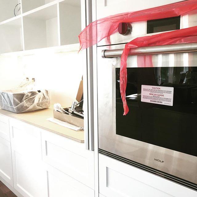 So fresh the plastic isn't off. Tx.  #kitchen #kitchendesign #shaker #bespoke #itsnotfinished #wolfappliances #subzero