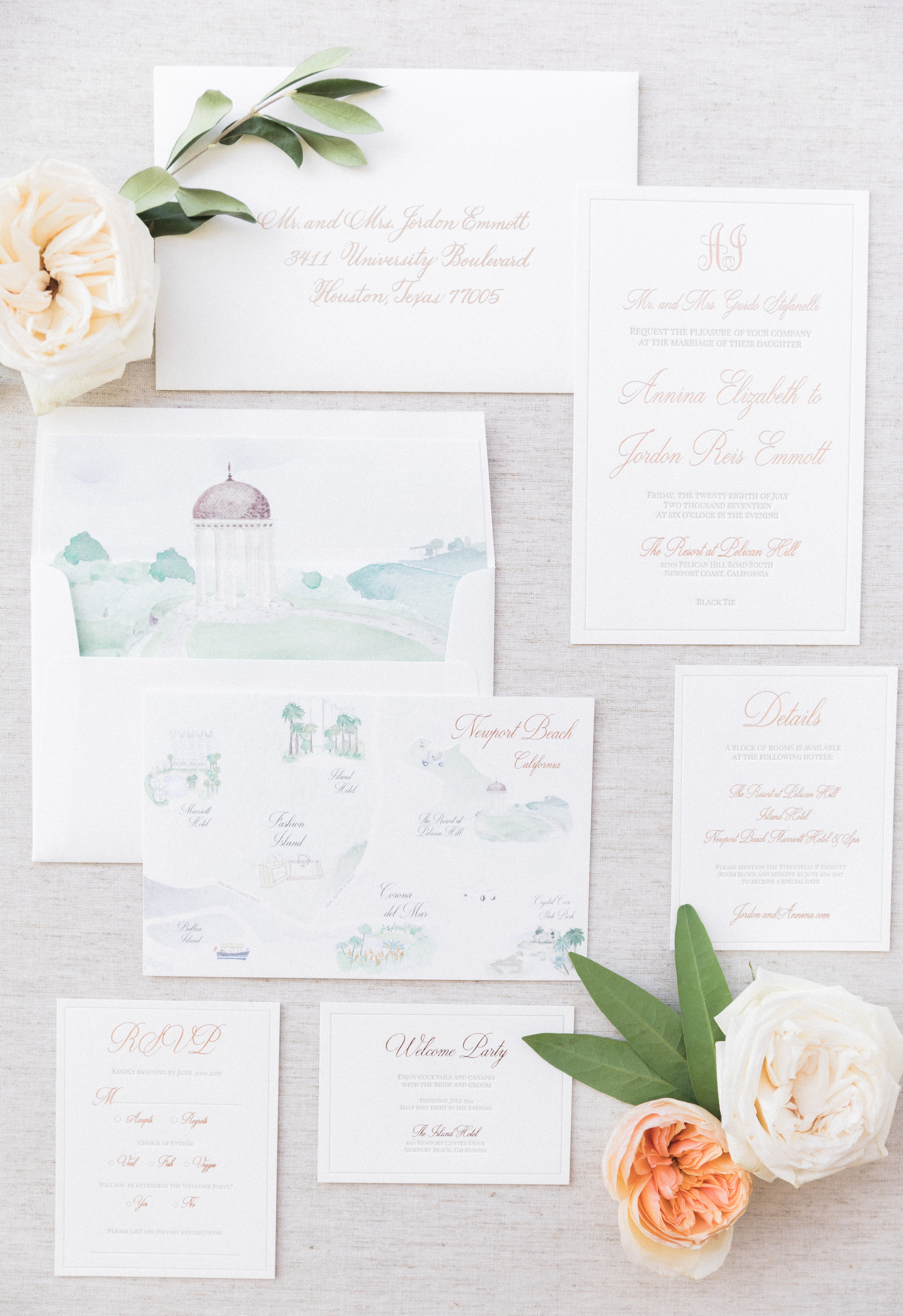 Pelican Hill Wedding Invitation Suite by Vie de Vic Fine Illustration & Stationery | Photo: Brandon Kidd Photo