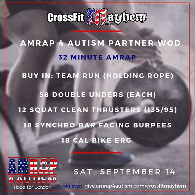 "Let's Go... 🇺🇸 🏋🏽‍♂️🇺🇸🏋🏻‍♀️🇺🇸⁣ ⁣ The WOD for our ""MAYHEM"" AMRAP 4 Autism is officially up. Which movement are you surprised to see? 😮⁣ ⁣ If you want to participate in or donate to the event, do so by visiting give.amrap4autism.com/crossfitmayhem 🧩  #autism #autismawareness #crossfit #amrap #charity #amrap4autism #nonprofit #amrap4autism #crossfitmayhem @crossfitmayhemfreedom #autismstrong"