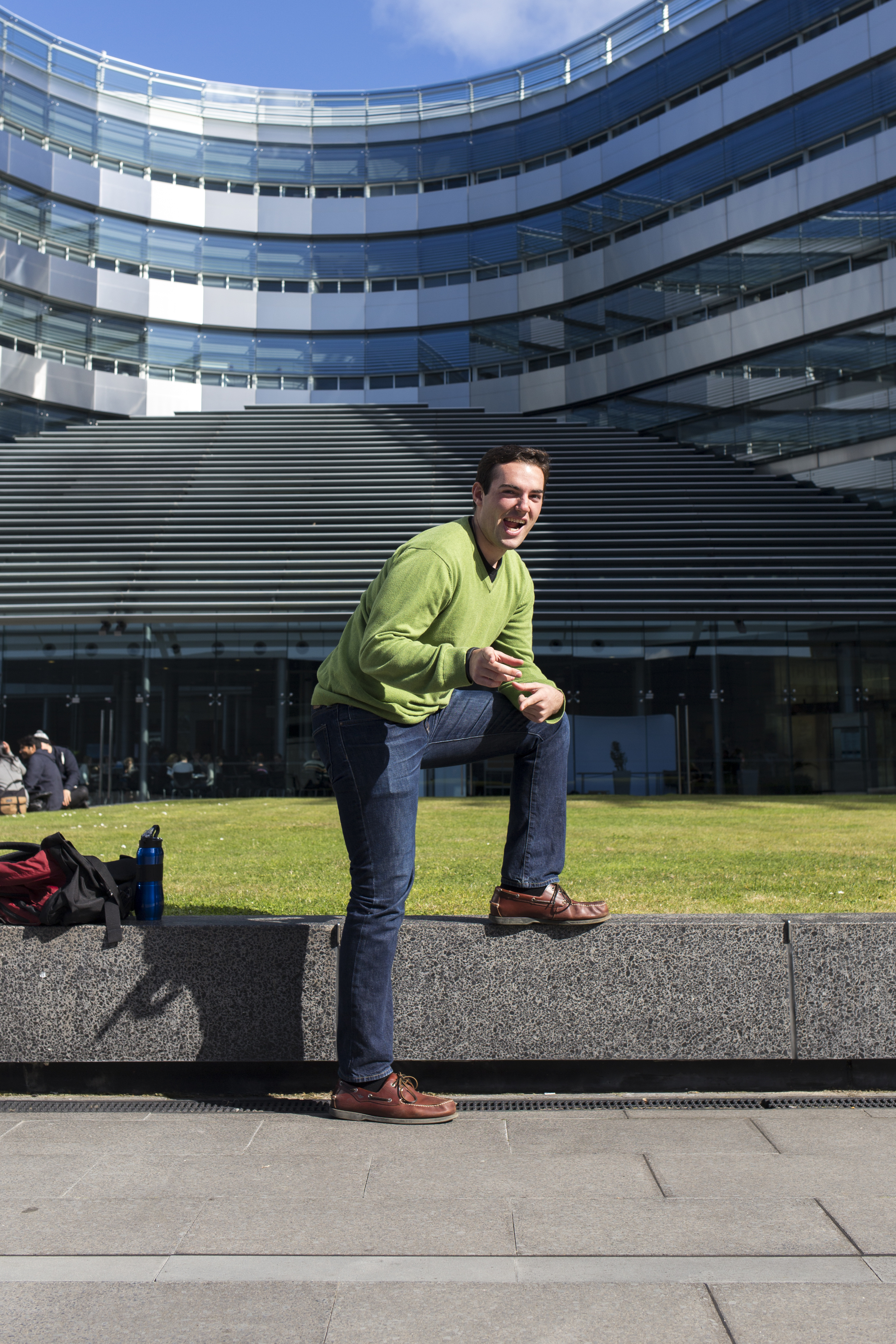 The building behind Ryan was our business school building, a very new building that took a lot of money to build...