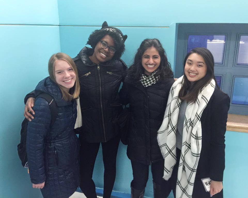 Ama with Jessica, Mckenzie and Hediya at P.S. 244