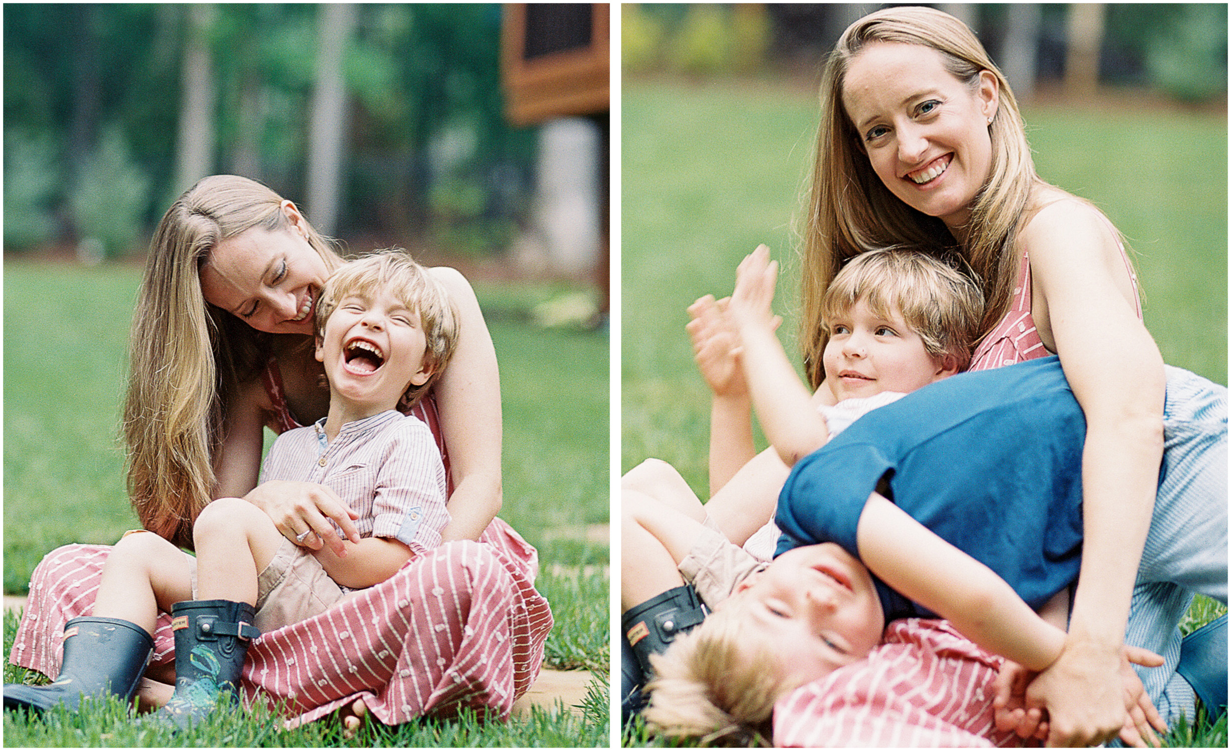 a candid moment of mother and sons laughing at a pittsburgh family photography session
