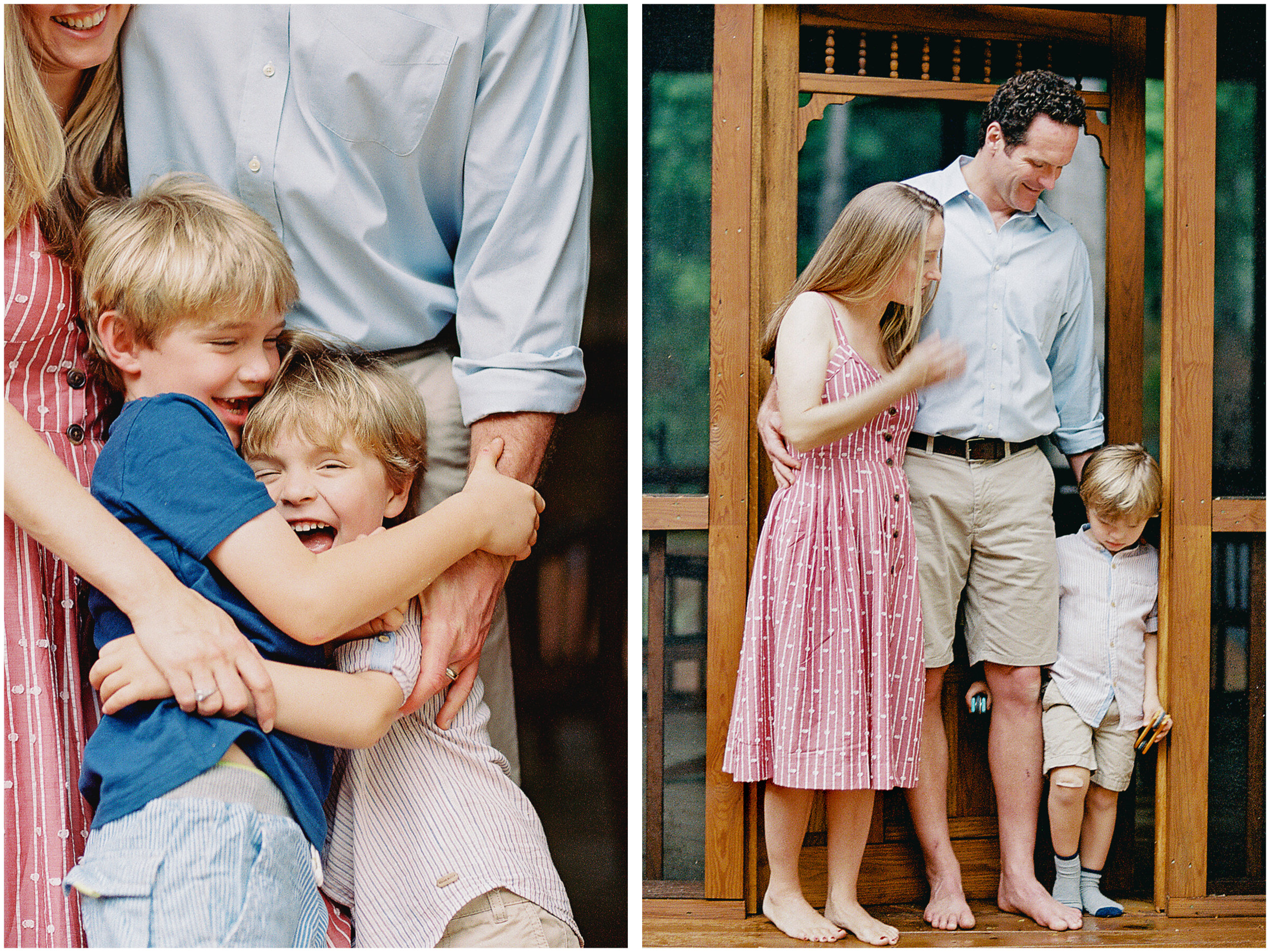 a candid moment of family captured on film by photographer anna laero at a pittsburgh family session