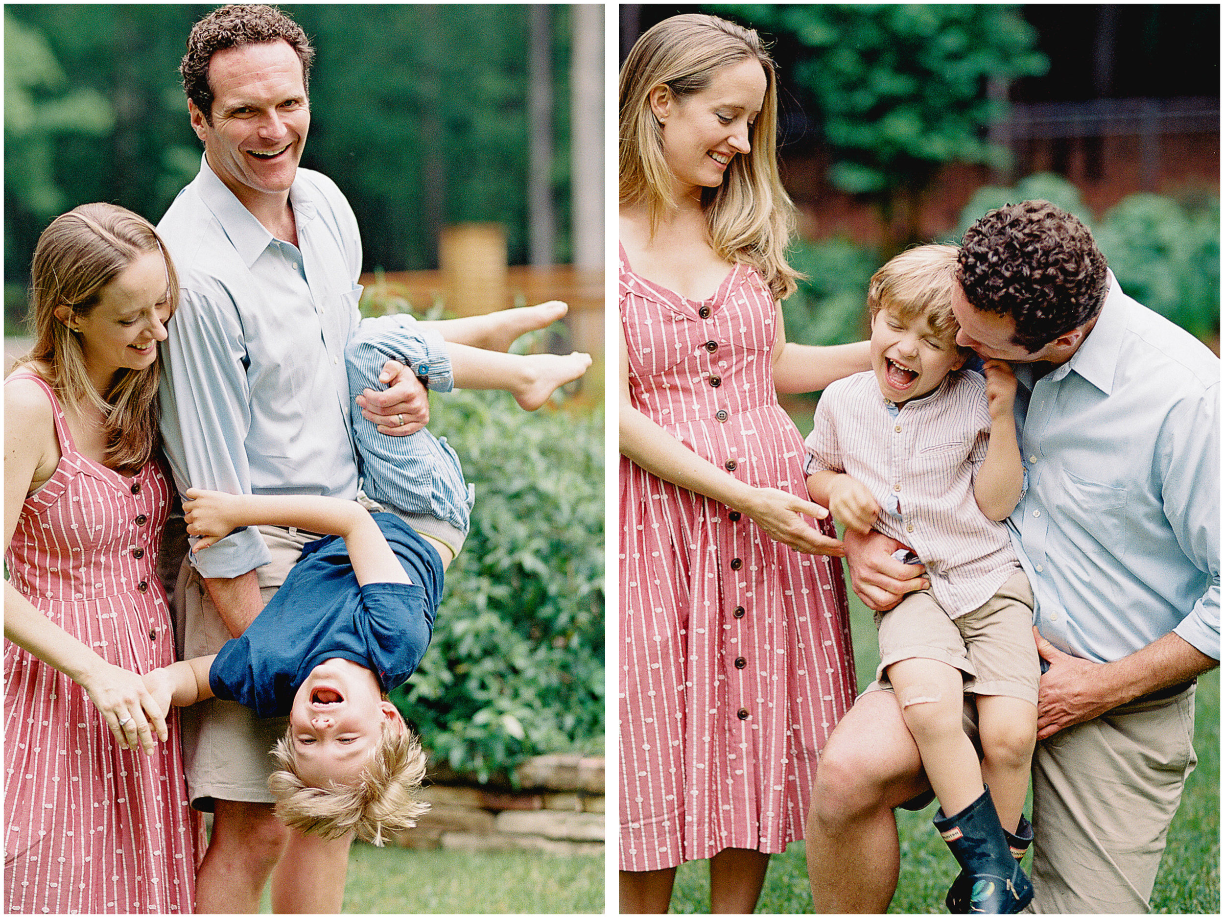 mother and father with children captured on film by photographer anna laero at a pittsburgh family session
