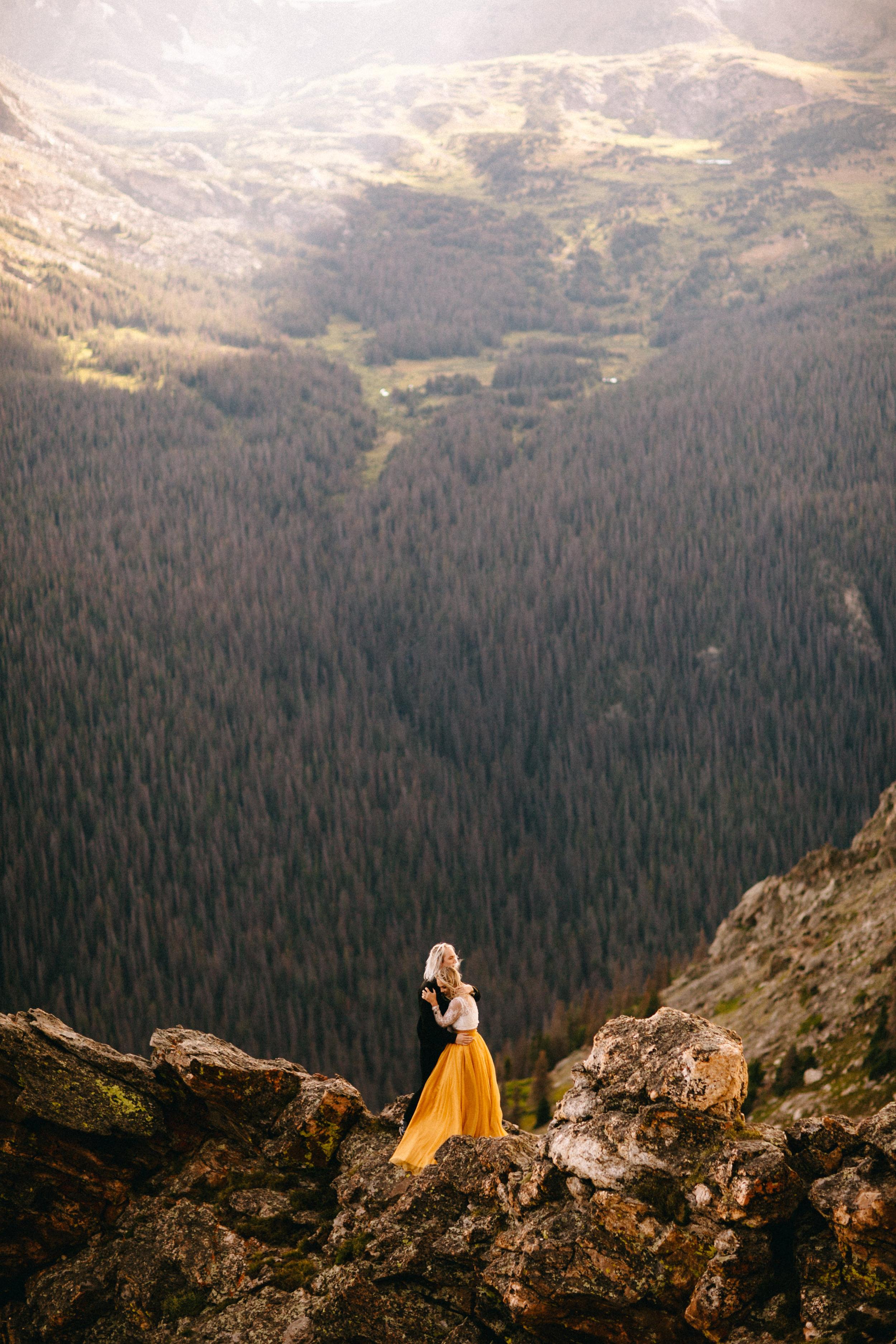 Liz Osban Photography Rocky Mountain National Park Trail Ridge Road Sweet Carolina Styles Skirt Marigold Yellow Cole Janzen Kelli Mantooth Mountains Colorado Northern Estes Park Alpine Elopement Wedding Destination Adventure LBGT Engaged9.jpg