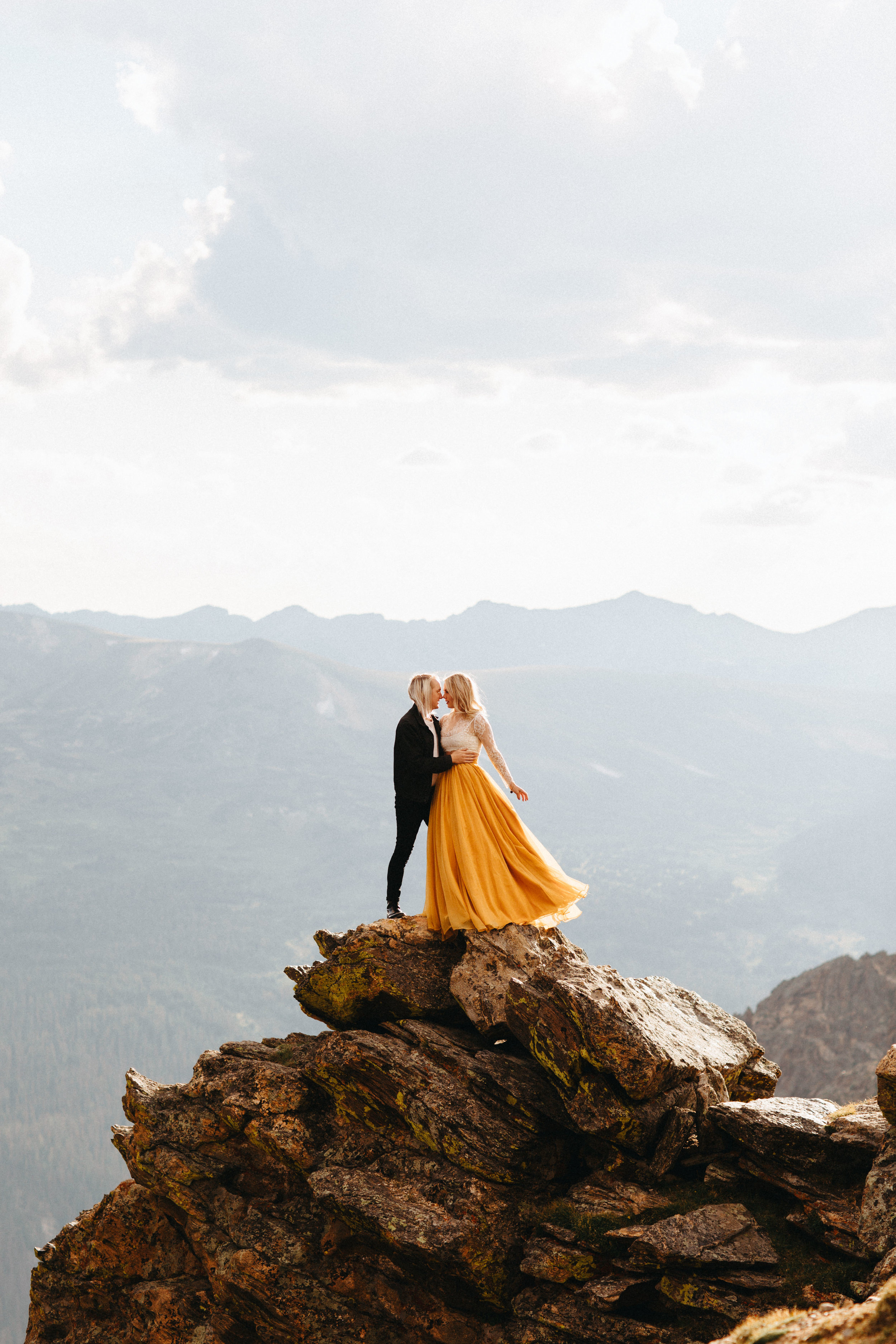 Liz Osban Photography Rocky Mountain National Park Trail Ridge Road Sweet Carolina Styles Skirt Marigold Yellow Cole Janzen Kelli Mantooth Mountains Colorado Northern Estes Park Alpine Elopement Wedding Destination Adventure LBGT Engaged31.jpg