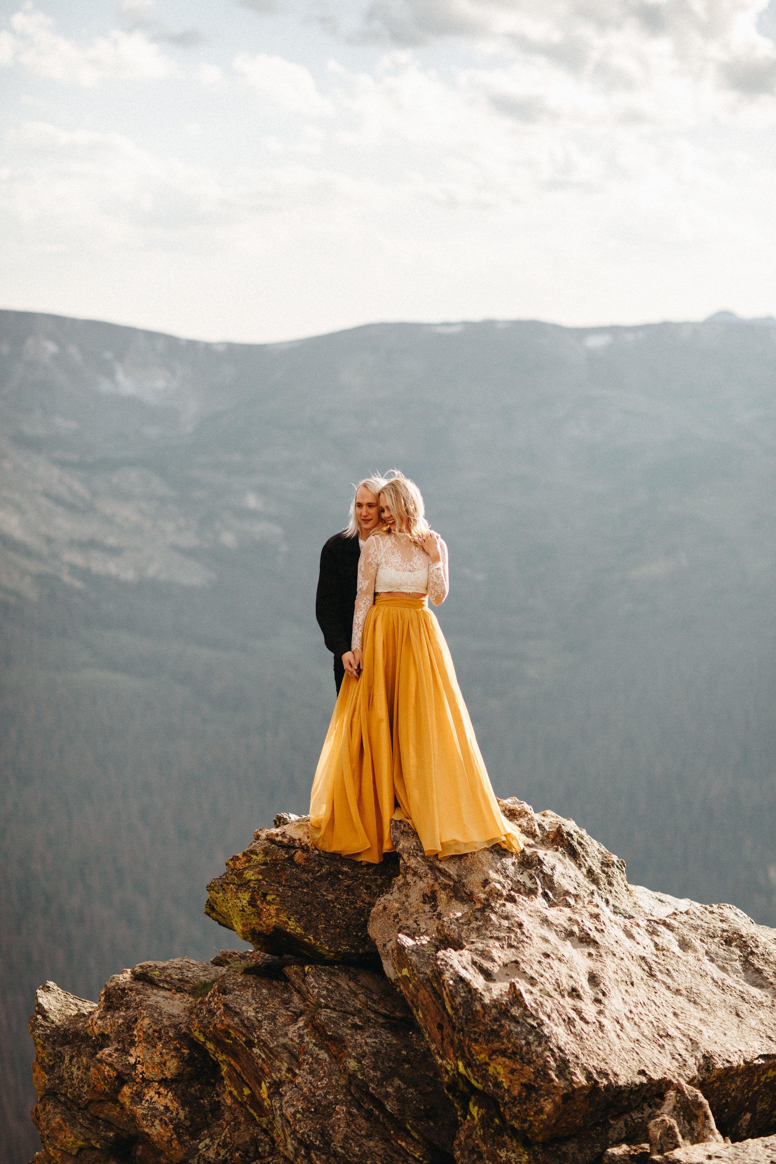 Liz Osban Photography Rocky Mountain National Park Trail Ridge Road Sweet Carolina Styles Skirt Marigold Yellow Cole Janzen Kelli Mantooth Mountains Colorado Northern Estes Park Alpine Elopement Wedding Destination Adventure LBGT Engaged33.jpg