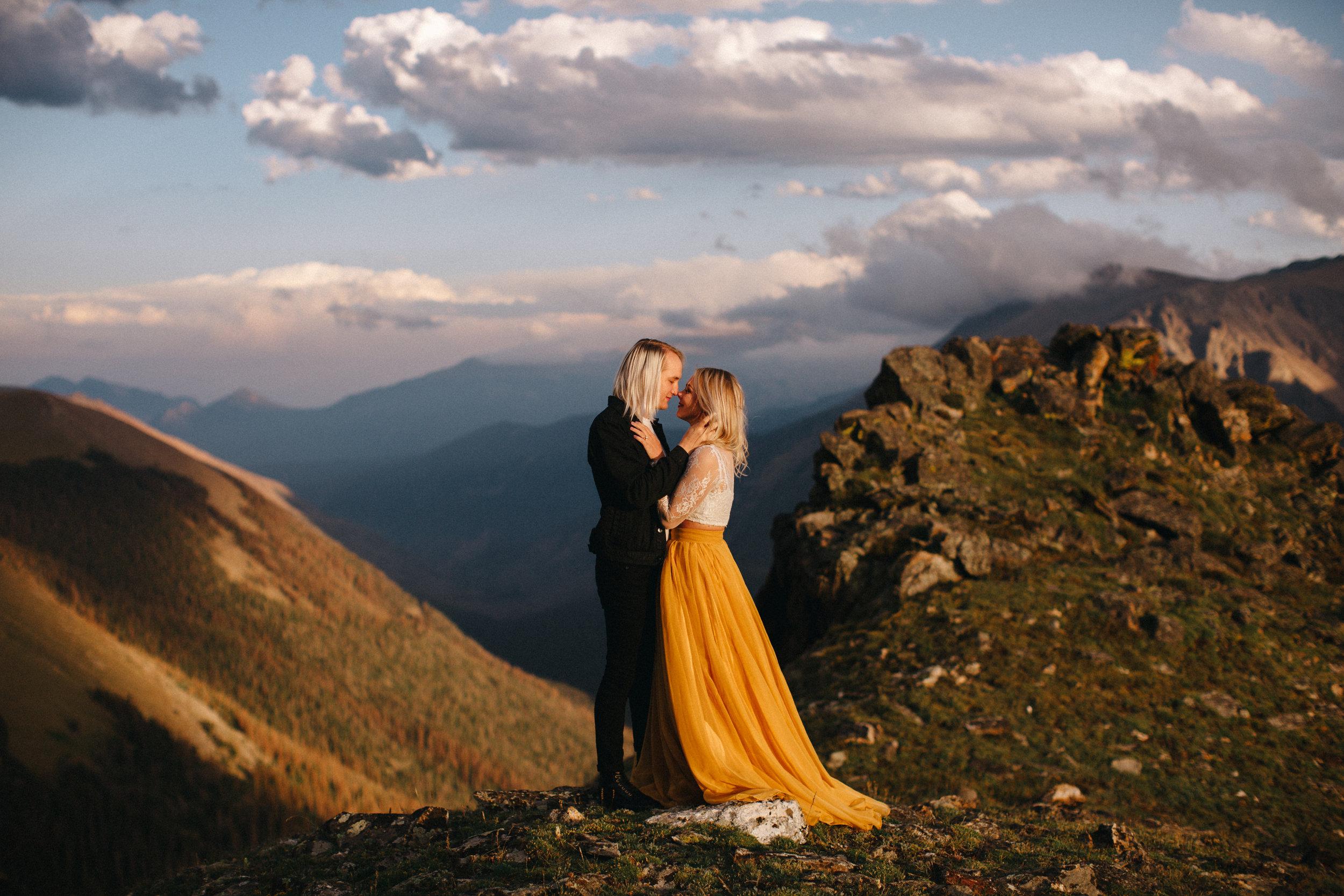 Liz Osban Photography Rocky Mountain National Park Trail Ridge Road Sweet Carolina Styles Skirt Marigold Yellow Cole Janzen Kelli Mantooth Mountains Colorado Northern Estes Park Alpine Elopement Wedding Destination Adventure LBGT Engaged45.jpg