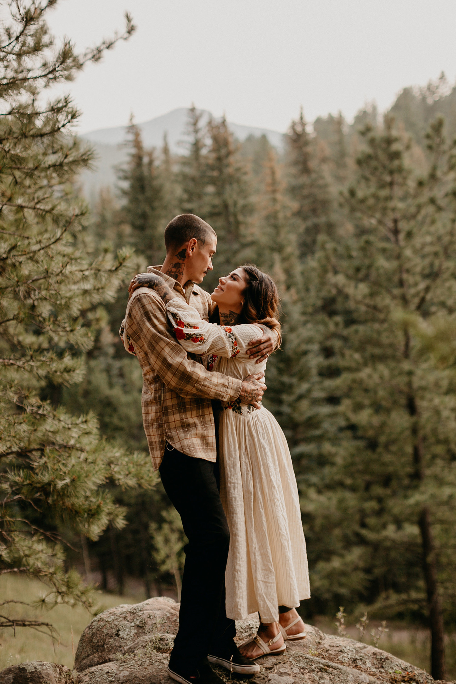 Bailey Colorado Denver Wedding Engagement Photographer Liz Osban Cheyenne Wyoming Mountain Elopement Boho bohemian vintage film tattoo non traditional tattooed rock and roll 31.jpg