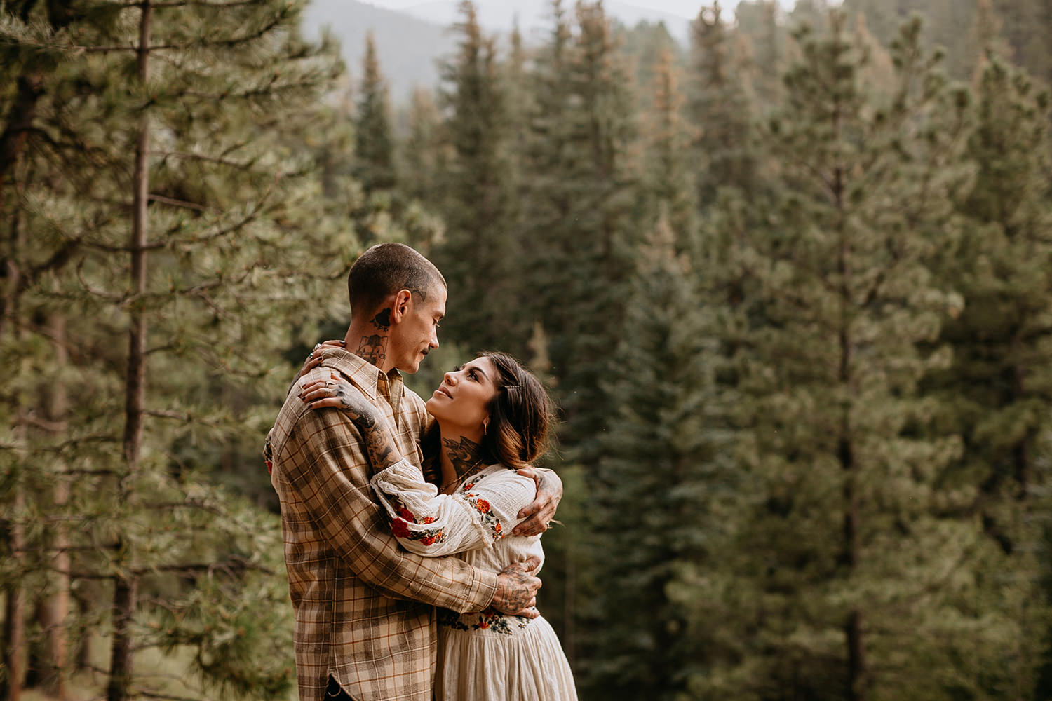 Bailey Colorado Denver Wedding Engagement Photographer Liz Osban Cheyenne Wyoming Mountain Elopement Boho bohemian vintage film tattoo non traditional tattooed rock and roll 34.jpg