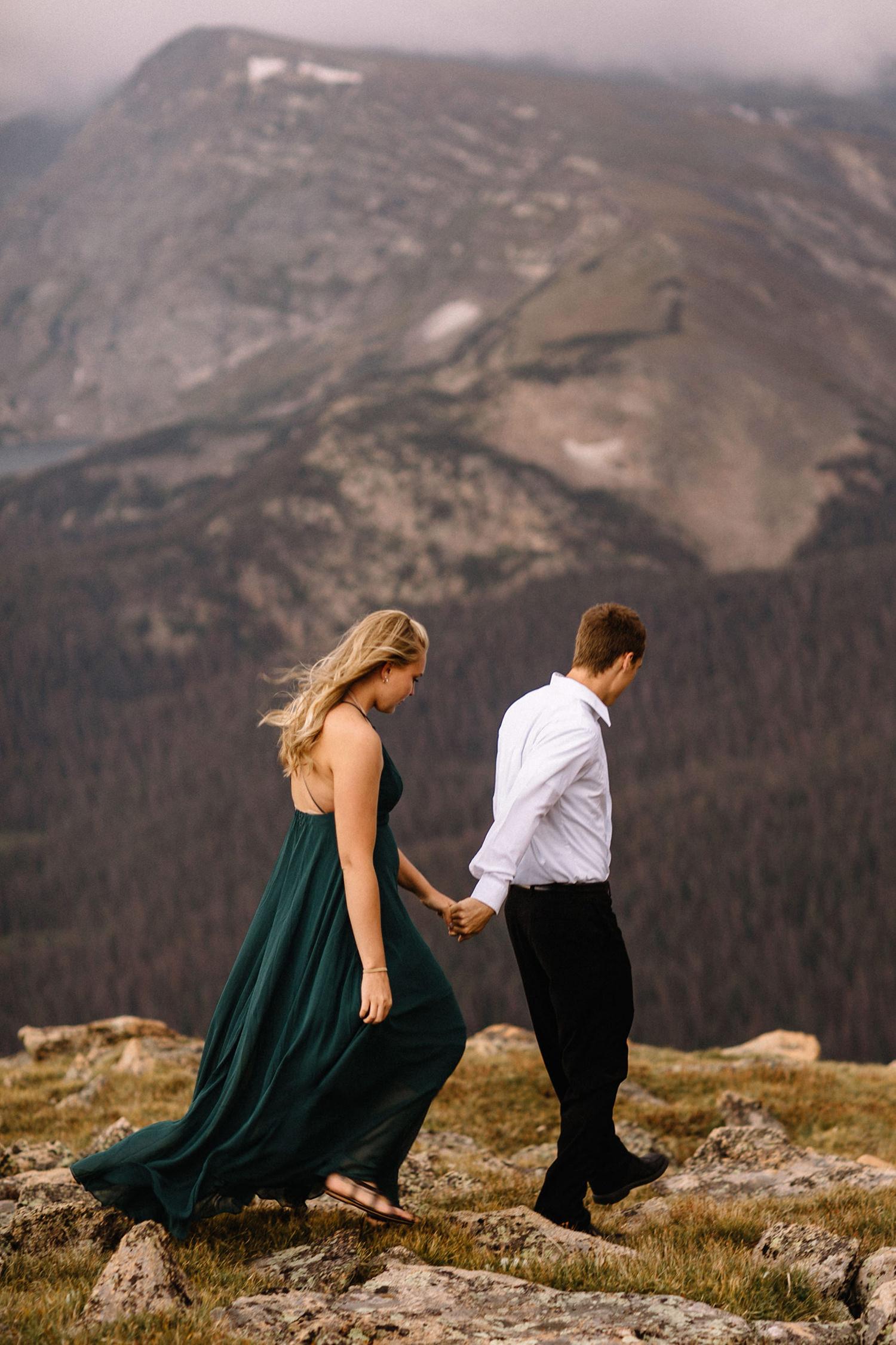Rocky Mountain Engagement National Park Engaged Photos Wedding Elopement Portrait Mountains Trail Ridge Rd Peak Alpine Dress Lulus Rules Permit Photo Adventure Love Couples Destination Liz Osban photography Cheyenne Wyoming16.jpg