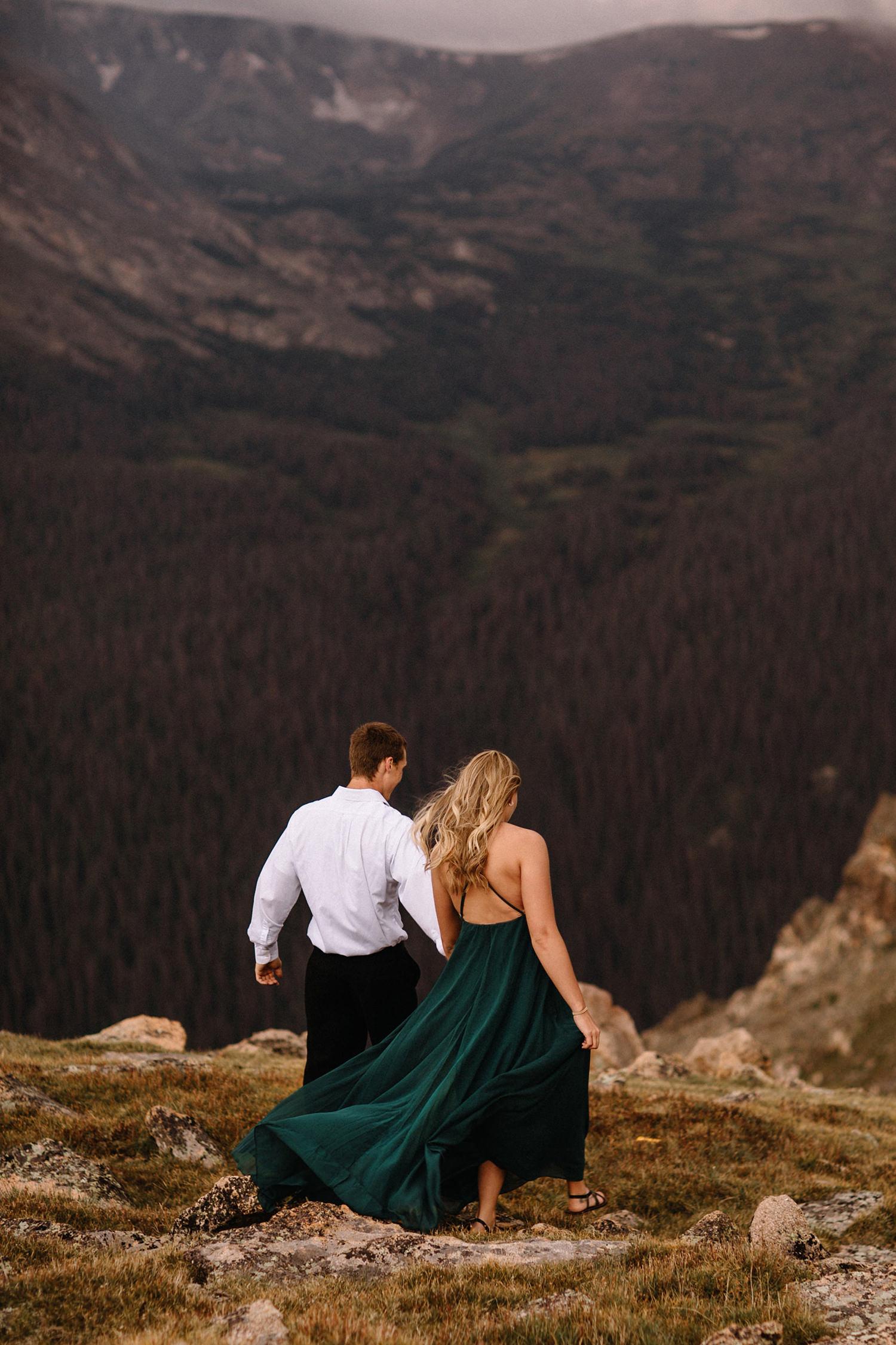Rocky Mountain Engagement National Park Engaged Photos Wedding Elopement Portrait Mountains Trail Ridge Rd Peak Alpine Dress Lulus Rules Permit Photo Adventure Love Couples Destination Liz Osban photography Cheyenne Wyoming17.jpg