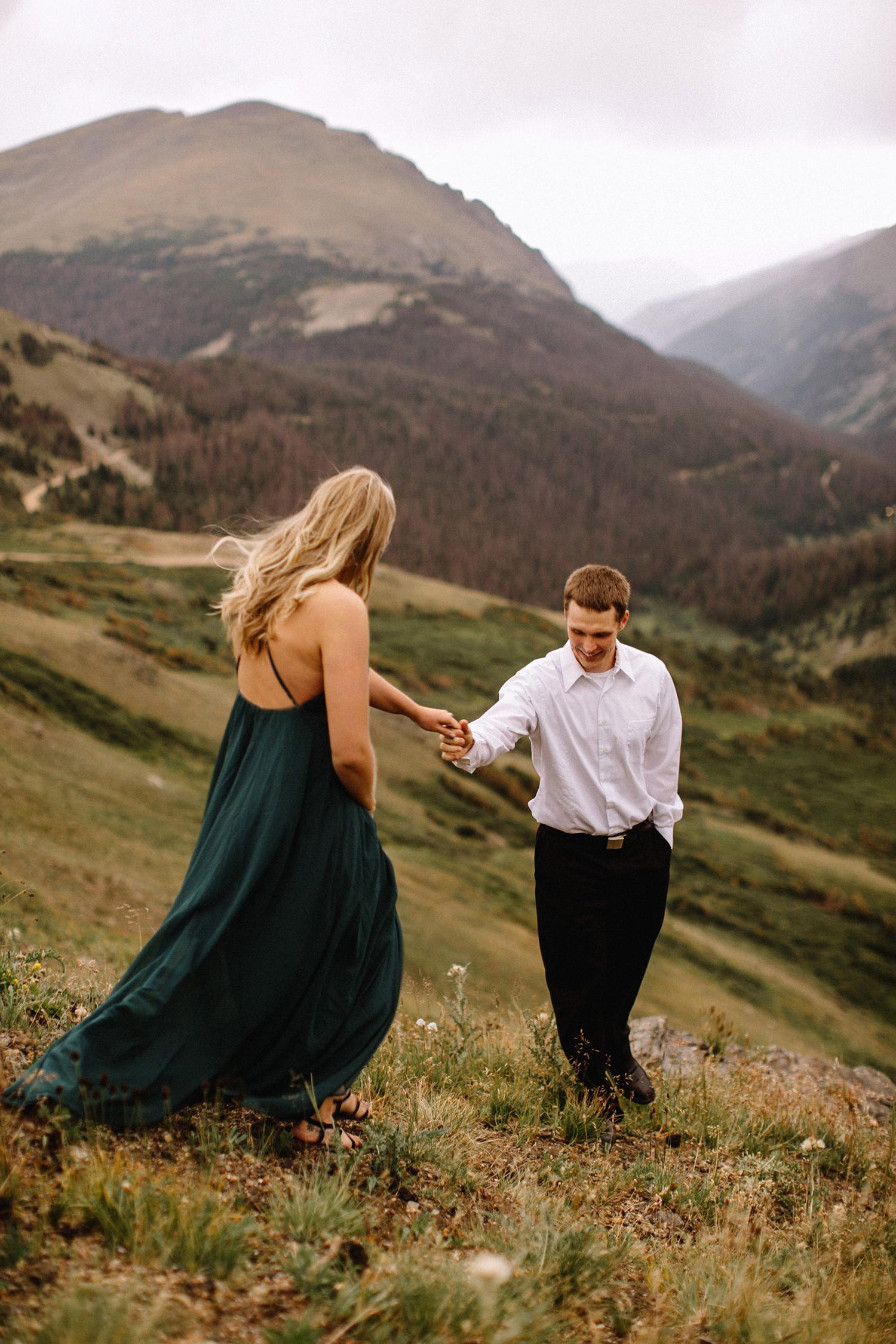 Rocky Mountain Engagement National Park Engaged Photos Wedding Elopement Portrait Mountains Trail Ridge Rd Peak Alpine Dress Lulus Rules Permit Photo Adventure Love Couples Destination Liz Osban photography Cheyenne Wyoming23.jpg