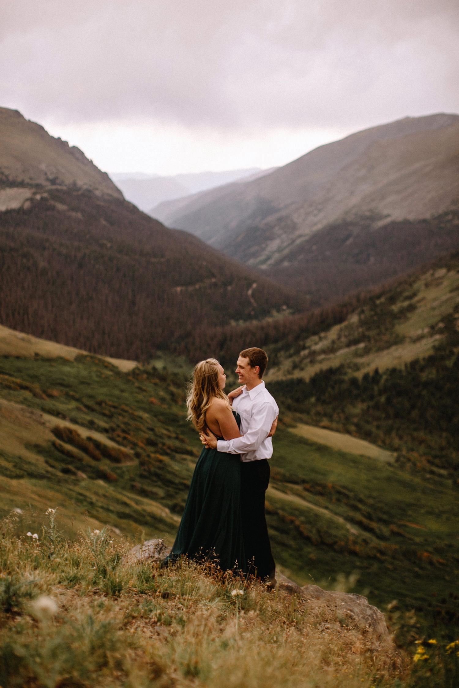 Rocky Mountain Engagement National Park Engaged Photos Wedding Elopement Portrait Mountains Trail Ridge Rd Peak Alpine Dress Lulus Rules Permit Photo Adventure Love Couples Destination Liz Osban photography Cheyenne Wyoming24.jpg